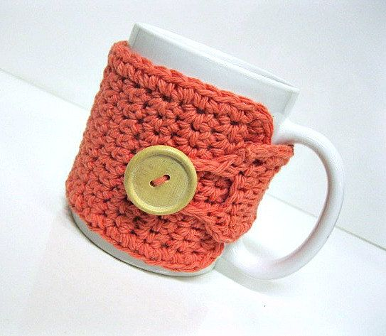 Coffee Mug Cozy in Tangerine by by MontanaDaisyGirl on Etsy