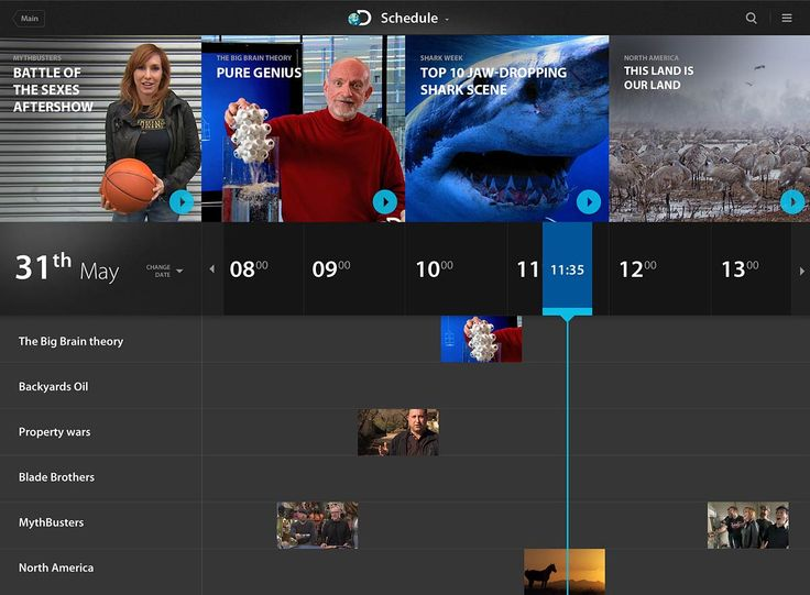 Discovery channel TV schedule screen