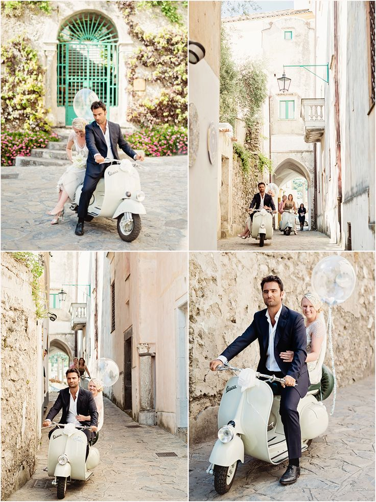 "Here comes ""la sposa"" on a vintage vespa in Ravello, Italy"