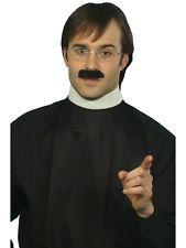 Vicar / Priest Kit White Collar Black Moustache Glasses Mens Fancy Dress Costume