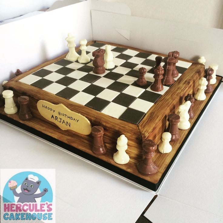 Chess board cake with chocolate pieces #chessboard #chess #cake #3dcake…