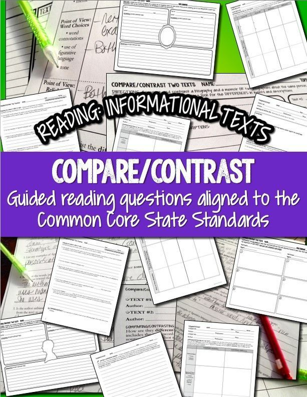 Compare/Contrast Two Texts - great practice for close reading strategies