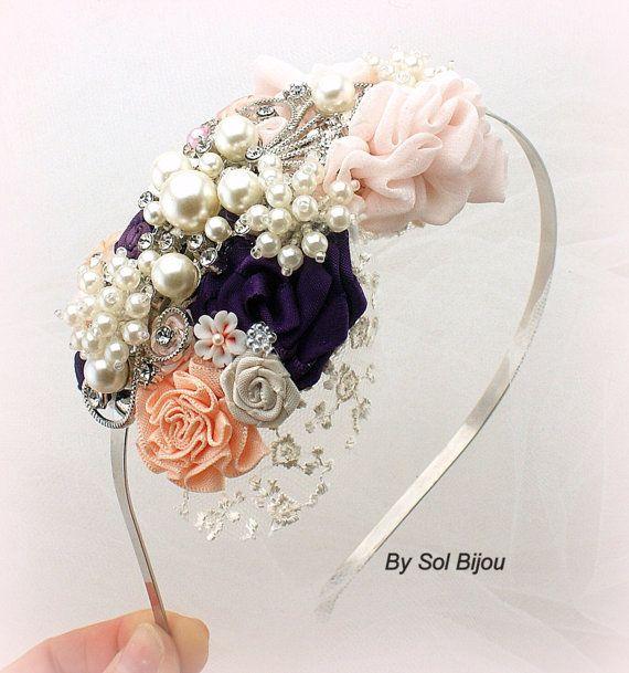 Bandeau, Bibi, mariée, demoiselle d'honneur, mariage, mauve, Ivoire, Blush, Peach, perles, dentelle, cristaux, mariage élégant, Vintage