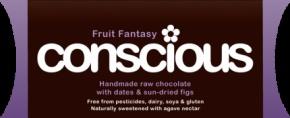 Fruit fantesy/Alice în basmul cu fructe  Ciocolată neagră crudă organică, Conscious, 40 gr, fără pesticide, fără lactate, fără soia, fără gluten.Cacao solidă 50%, unt de cacao, sirop de agave, pudră de cacao Ecuador, unt de cocos, carob, smochine (10%), curmale (10%), scorţişoară, sare Himalaya. Poate conţine urme de nuci