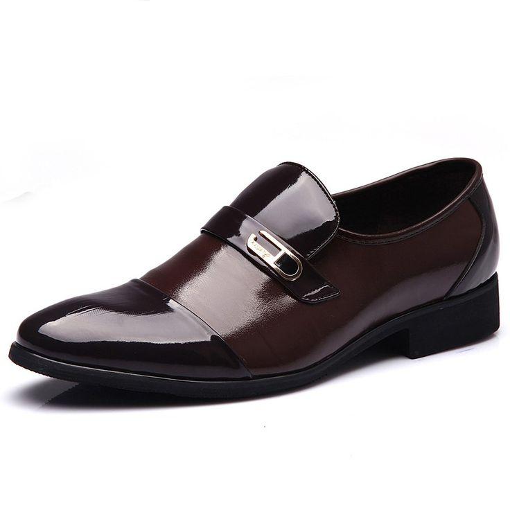 2016 Vestido de Otoño Primavera Zapatos de Los Hombres Padrinos de Boda y el Novio de Oficina Zapatos de Cuero de Patente de la Manera Zapatos Antideslizantes Tamaño De La Boda 39-44(China (Mainland))