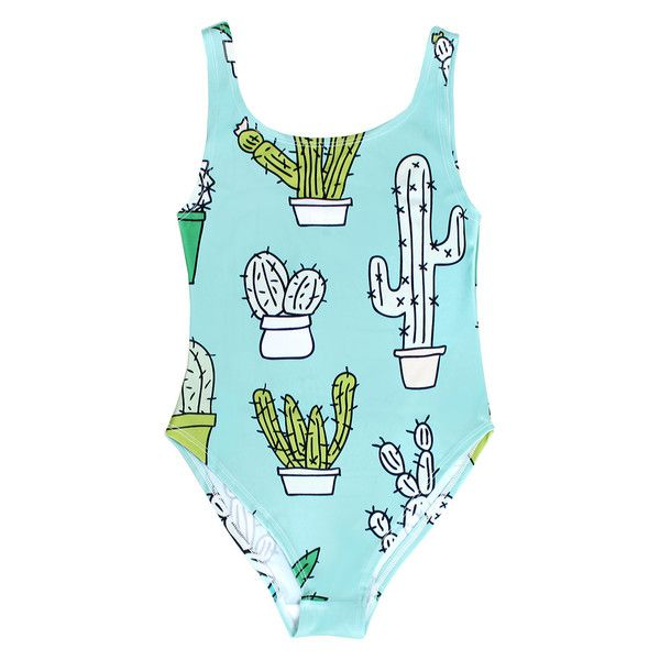 BATOKO Womens Cactus Print Green Swimsuit