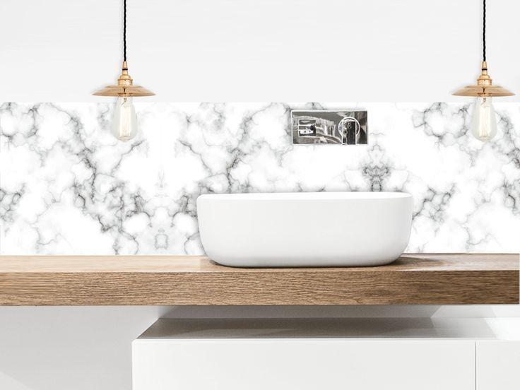 cr dence adh sive marbre blanc salle de bain pinterest. Black Bedroom Furniture Sets. Home Design Ideas