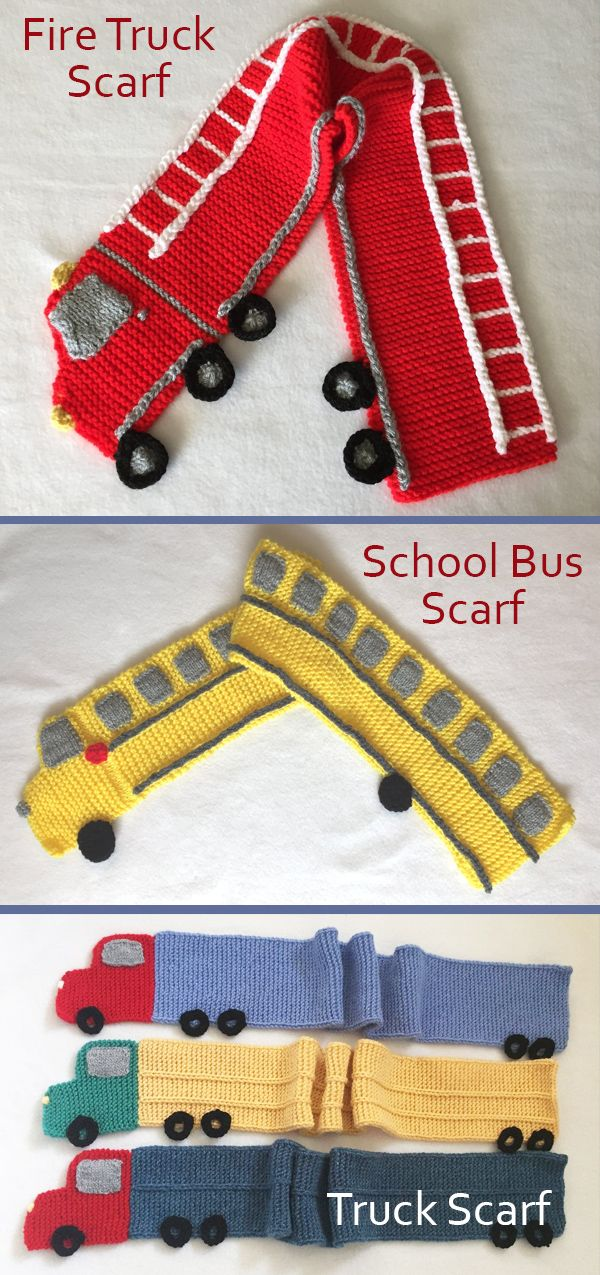 Knitting Patterns for Fire Truck Scarf, School Bus…