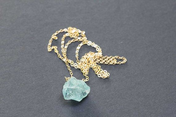 Raw Aquamarine Pendant on Sterling Silver or Gold Filled Chain, Raw Gemstone Necklace, Rough Aquamarine Jewelry, Layering Necklace