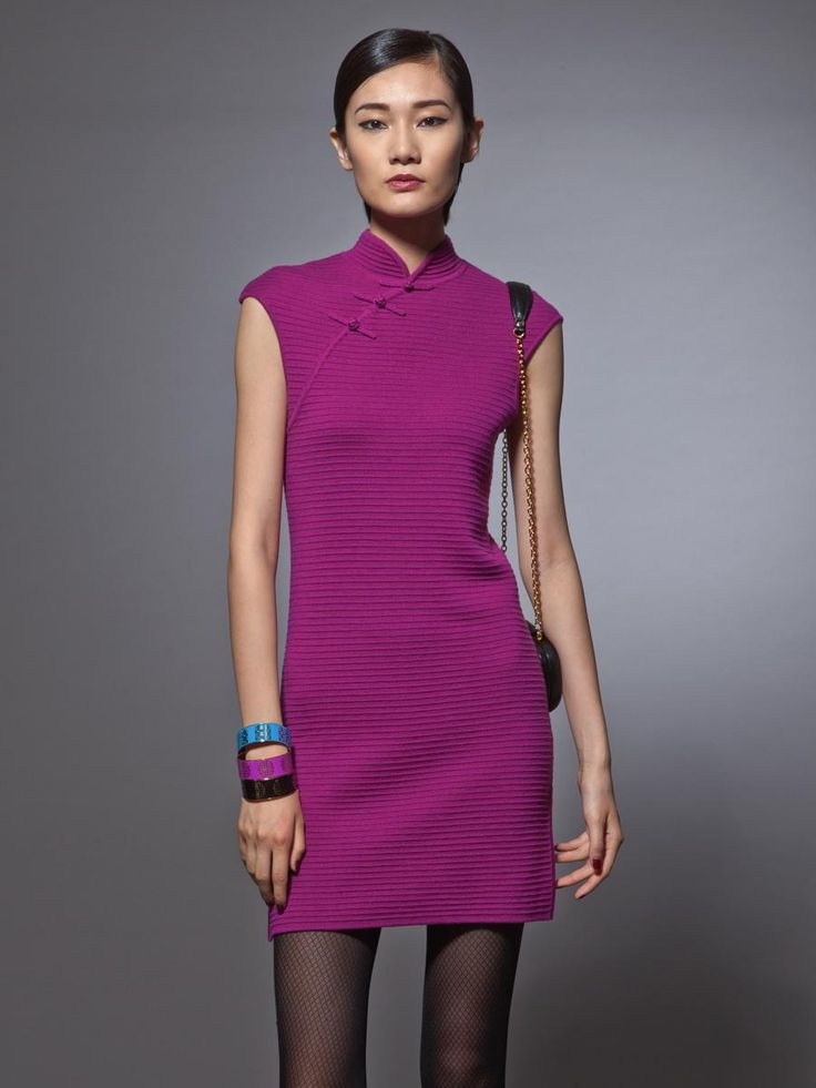 shanghai tang wool ottoman sleeveless qipao dress mode