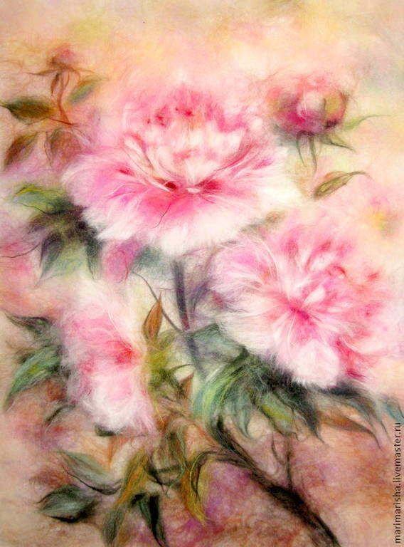 Купить Картина из шерсти Нежность пионов - картина из шерсти, живопись шерстью, картина с цветами