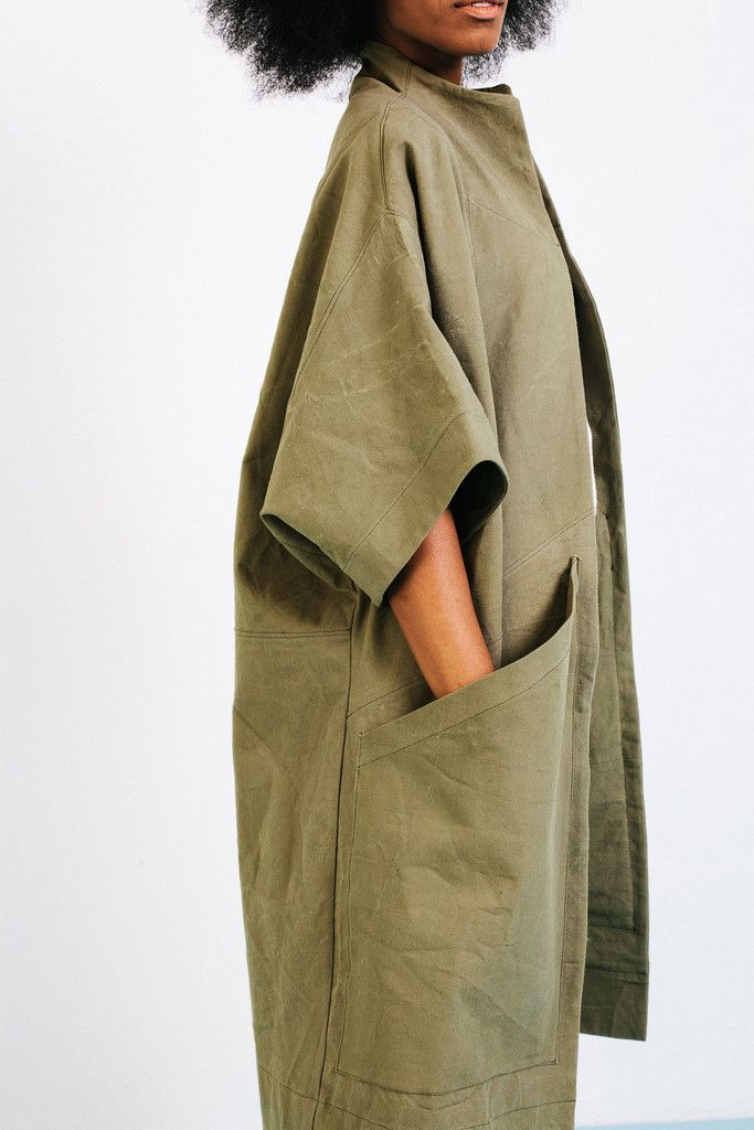 Cocoon Trench from Elizabeth Suzann / olive cotton canvas