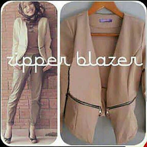 (READY lagi) Zipper Blazer, hrg 99rb,bhn wedjes import, tebel,good quality,aplikasi zipper,ld 90-100 pjg 57,bisa muat sampe L(1)