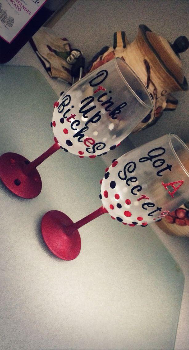 Pretty Little Liars DIY Wine Glass #prettylittleliars #wineglass #pll #themed #party