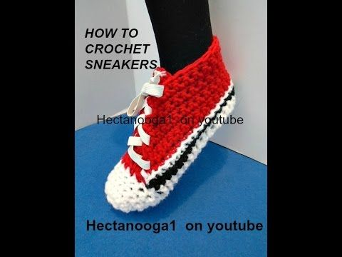 How to crochet TRAINER SNEAKERS, fits 6 - 10 years, Crochet Pattern for Converse style sneakers - YouTube