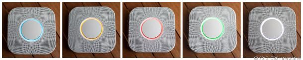The colors of the LED light ring in the Nest Protect smoke and CO alarm