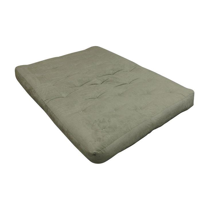 6 Single Foam & Cotton 21X39 Twin Loveseat Ottoman Sage Microfiber Futon Mattress (Green - Polyester/Foam/Cotton - Foam/Cotton - Chair - 6 Inch)