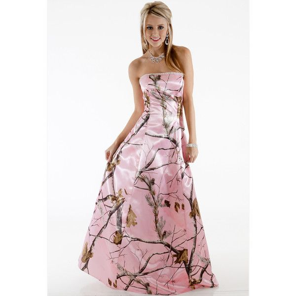 Realtree ® Pink Camo Dresses | Made in USA - Free Shipping ❤ liked on Polyvore featuring dresses, camoflage prom dresses, realtree dresses, white prom dresses, pink camouflage dresses and camoflage dresses