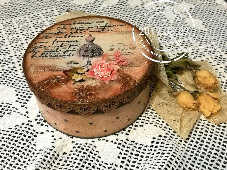 Romatikus stílus, rózsával. Decoupage technikával / Decoupage, romantic, rose, box
