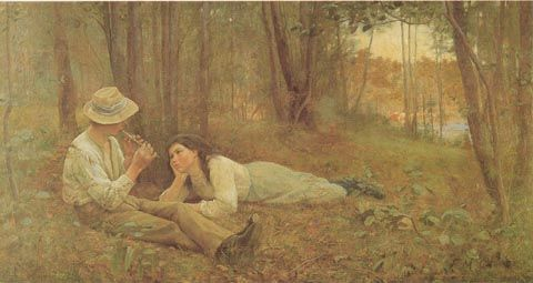 FREDERICK McCUBBIN. Australia 1855 - 1917. BUSH IDYLL, 1893 - Love his romantic style which reveals a lot about early Australia too!