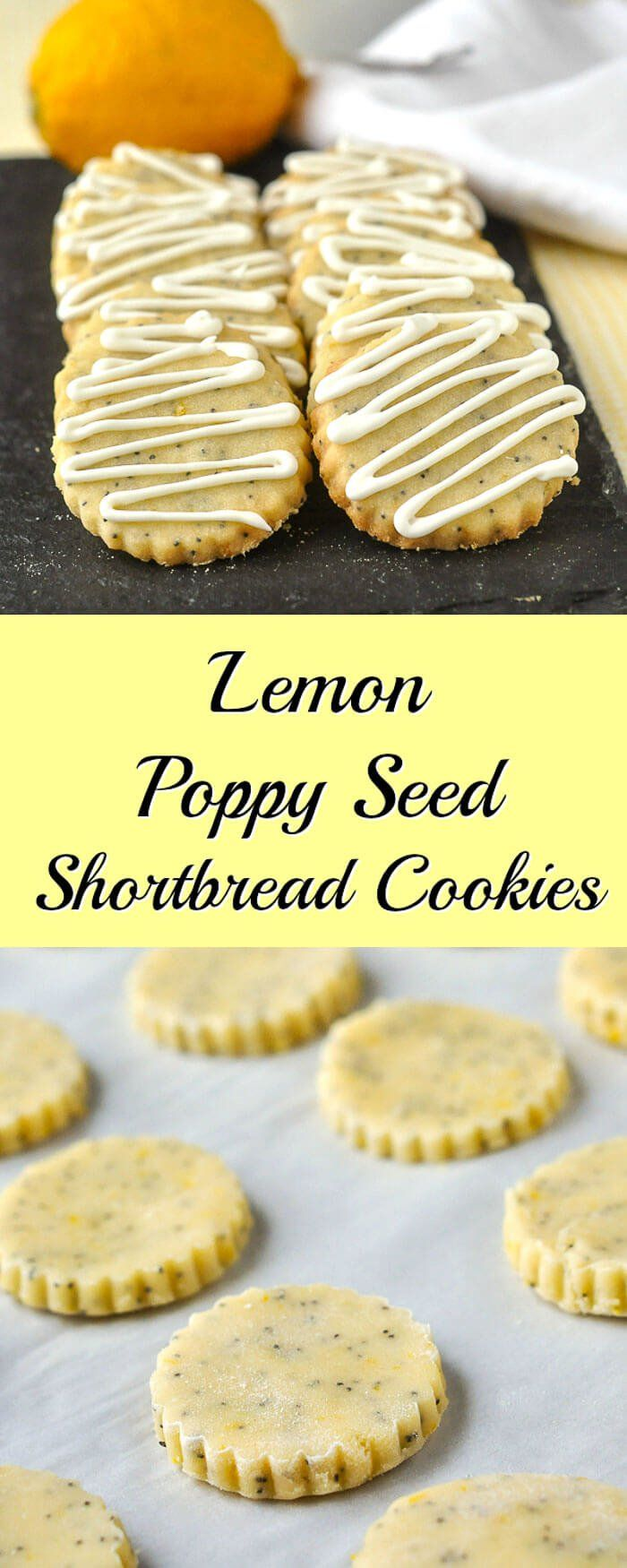 Lemon Poppy Seed Shortbread Cookies - ideal for afternoon tea! Buttery sweet shortbread cookies flavoured with lemon zest and poppy seeds.