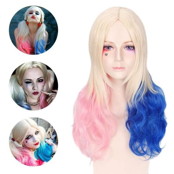 Harley Quinn Suicide Squad Wig Curly Pink Blue Gradient Hair for Cosplay