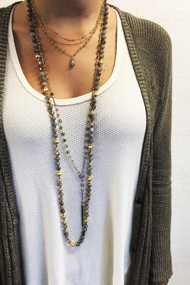 Chan Luu - Labradorite Mix Three Strand Gold Necklace, $295.00 (http://www.chanluu.com/necklaces/labradorite-mix-three-strand-gold-necklace/)