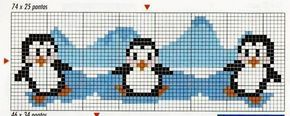 grille point de croix pingouins