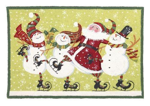 Christmas Dancing with Santa Hooked Rug - Susan Winget - Peking Handicraft