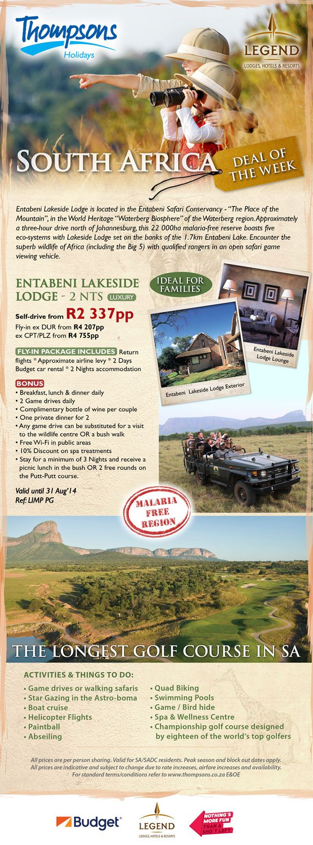 """Don't miss out on our favourite deal of the week! Entabeni Lakeside Lodge is located in the Entabeni Safari Conservancy - """"The Place of the Mountain"""" in the world heritage """"Waterberg Biosphere"""" of the Waterberg region. http://bit.ly/1qV02cL"""