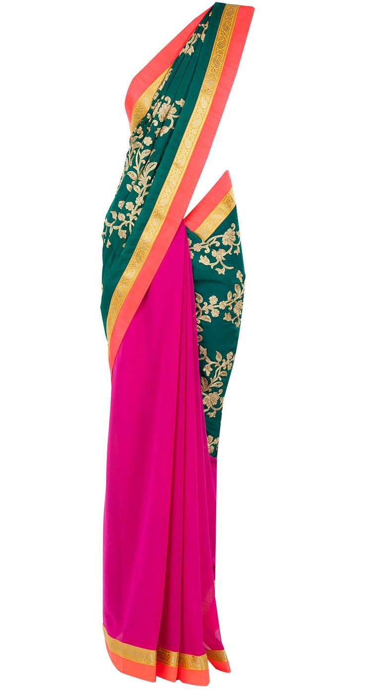 Teal green patched embroidered sari available only at Pernia's Pop-Up Shop.
