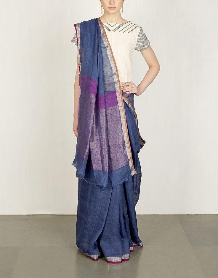 Indigo & Purple Linen Sari-Anavila
