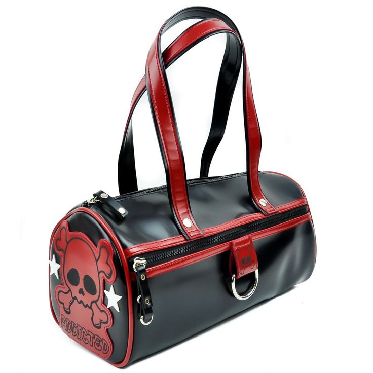Addicted Black And Red Cylinder Bowler Bag Purse W Skull Purses Bags Gothic Wallets Pinterest