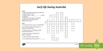Surf Life Saving Australia Crossword - Surf Life Saving Australia, surfing, life guard, lifesaver, Australia