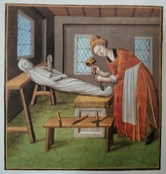 Marcia sculpteert een beeld, miniatuur uit Boccaccio, La Louange et Virtue des Nobles et