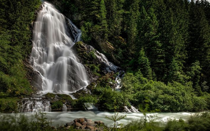 Download wallpapers mountain, waterfall, forest, mountain river, mountain landscape, summer