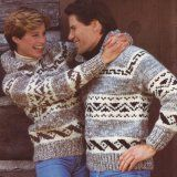Vintage Pattern - Cowichan Style Sweater Jacket with Geo Design