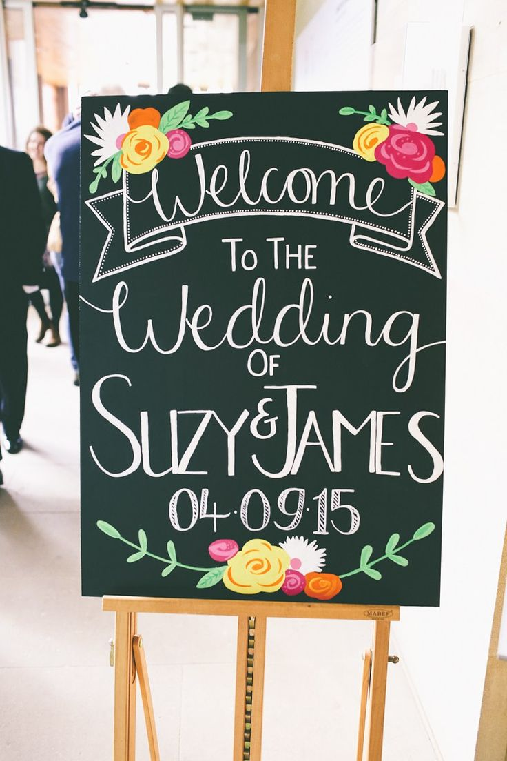 Welcome Sign Floral Illustrated Black Board Chalk Colourful Modern DIY Fun Wedding http://www.emmaboileau.co.uk/
