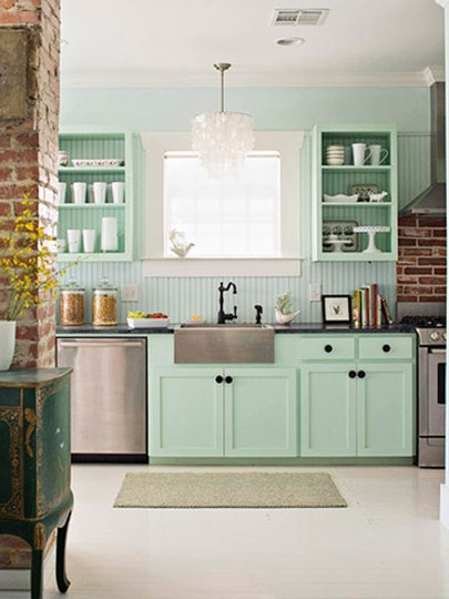 Mintgreen, Cabinets Colors, Open Shelves, Mint Green, Mint Kitchens, Interiors Design, Green Kitchens, Expo Bricks, Design Home