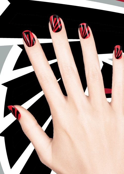 Pro tip: perfect your Atlanta Falcons nail art by using clear tape to get precise lines. (via CoverGirl)