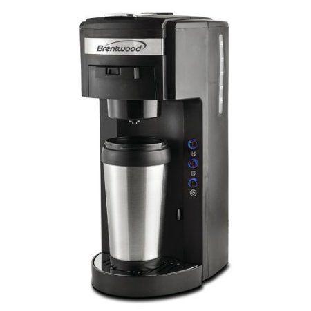 Brentwood Single Serve Coffee Maker, K-Cup Soft Pod Compatible, Black, Silver