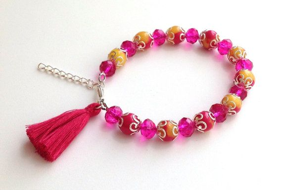 Fuchsia and yellow polymer clay and crystal tassel bracelet