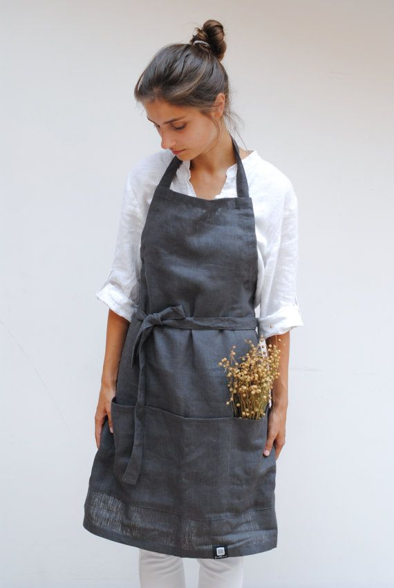 Linen kitchen apron with pockets, full linen apron, linen woman apron, gray and French blue linen apron with