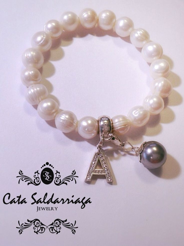 Fresh Water Pearl Bracelet with Sterling Silver Personalized Initial Charm by Cata Saldarriaga Jewelry.