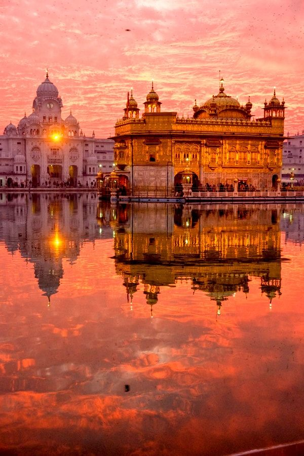 Golden Temple At Sunset Amritsar Punjab India Places To Travel Places To See Travel