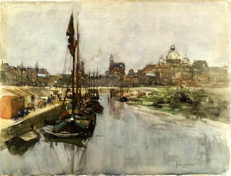 Floris Arntzenius - Het Kanaal gezien vanaf de brug bij de Nieuwe Duinweg