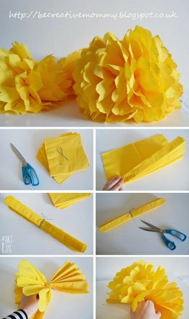 Giant yellow #pom-poms - great #party decoration!