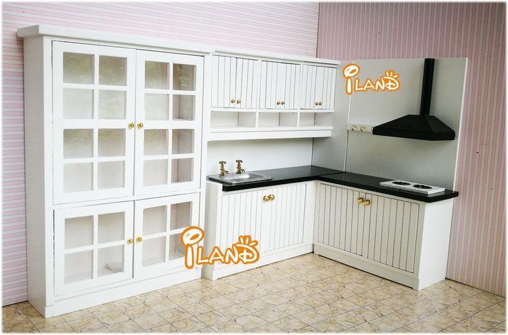 1/12 Dollhouse Kitchen Dining Room Furniture Set 3PCS 3Cabinet WD0055+WD0053 #Iland