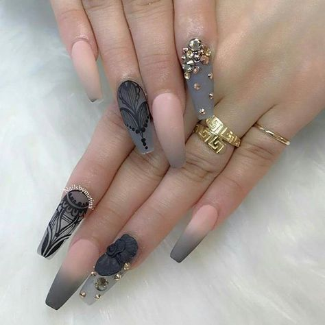 @nailsbymztina these are incredible!!! You need to follow her ladies and gents Blush pink and grey with the perfect amount of art, matte, embellishments and 3d work
