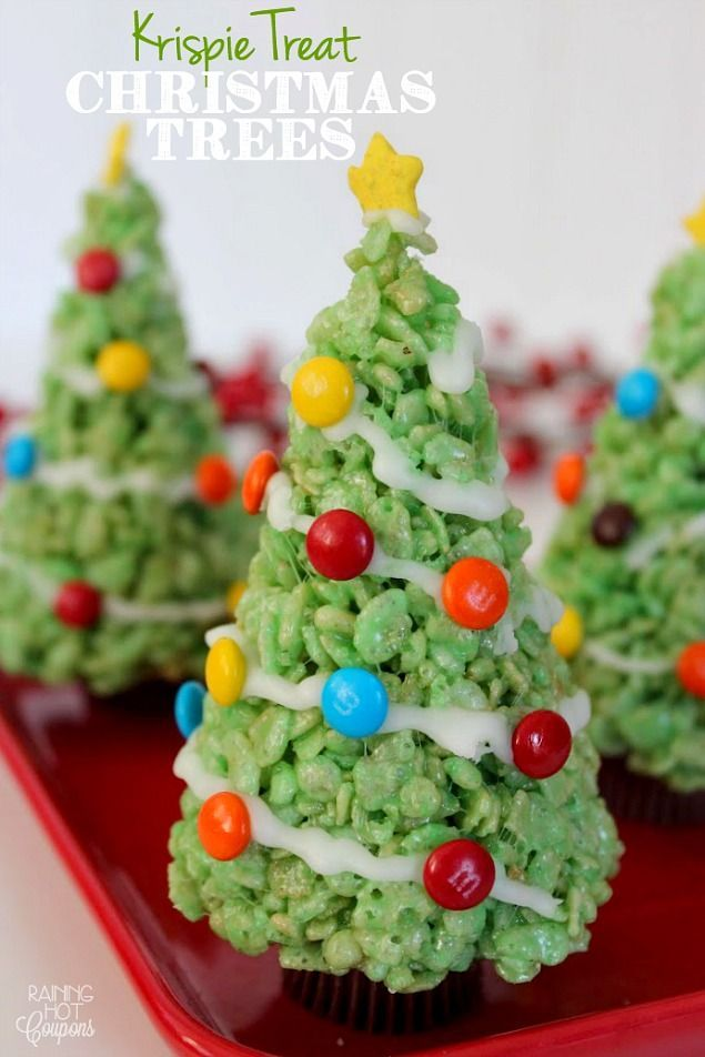 Rice Krispie Christmas Trees.Quick, cute and easy Christmas Rice Krispie treats! Fun for class treats, Christmas parties or fun dessert ideas!